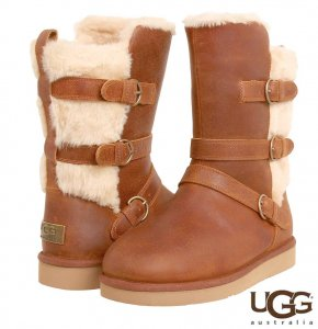 UGG(アグ)Becket レザームートンブーツ/バックル付きミディアムブーツ/チェスナット<img class='new_mark_img2' src='https://img.shop-pro.jp/img/new/icons16.gif' style='border:none;display:inline;margin:0px;padding:0px;width:auto;' />