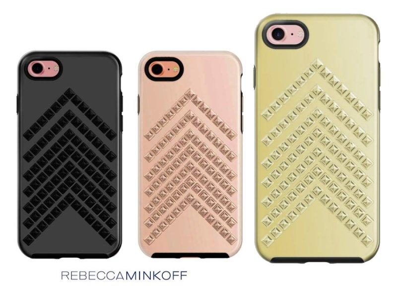 レベッカミンコフ(Rebecca Minkoff)iPhone7ケース/スタッズ付/ローズゴールド&ブラック