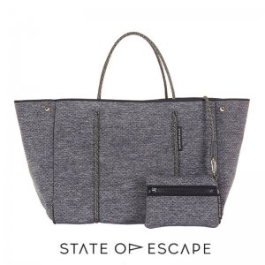 State of Escape(ステイトオブエスケープ)ESCAPE bag in LUXE charcoal marle/トートバッグ ポーチ付/ネオプレン/チャコールマール/マザーズバッグ/グレー
