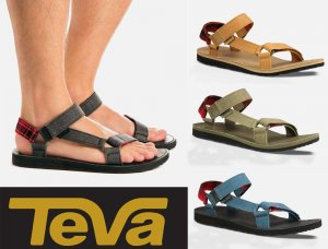 Teva(テバ)メンズサンダル/レザー×チェック柄/ORIGINAL UNIVERSAL WORKWEAR<img class='new_mark_img2' src='https://img.shop-pro.jp/img/new/icons16.gif' style='border:none;display:inline;margin:0px;padding:0px;width:auto;' />