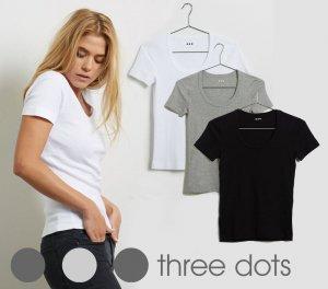 Three Dots(スリードッツ)Tシャツ レディース ジェシカ 半袖Uネック/Essential Heritage Knit Scoop Neck Tee/ブラック、ホワイト、グレー