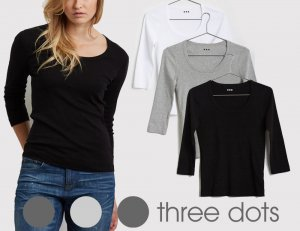 Three Dots(スリードッツ)七分袖Tシャツ レディース ジェシカ Uネック/ESSENTIAL HERITAGE KNIT SCOOP NECK TEE/ブラック、ホワイト、グレー<img class='new_mark_img2' src='https://img.shop-pro.jp/img/new/icons16.gif' style='border:none;display:inline;margin:0px;padding:0px;width:auto;' />