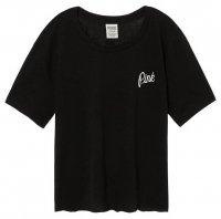 ヴィクトリアシークレットPINK(VictoriasSecretPINK)レディースTシャツ/ブラック/Shrunken Campus Tee