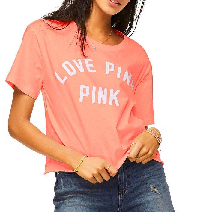 ヴィクトリアシークレットPINK(VictoriasSecretPINK)レディースTシャツ/トロピカルピンク/Shrunken Campus T…