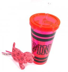 ヴィクトリアシークレットPINK(VictoriasSecret)ドリンクカップ&犬のぬいぐるみセット