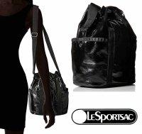 レスポートサック(LeSportsac)斜め掛けショルダーバッグ/BUCKET BAG/ブラッククリンクルパテント/BLACK CRINKLE PATE…