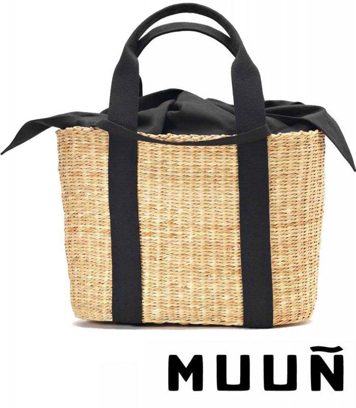 【2017年モデル】Muun(ムーニュ)かごバッグ/CABA P/インナーバッグ付き/ブラック×ナチュラル
