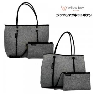 Willow bay(ウィローベイ)MARLE BLACK ネオプレントートバッグ ポーチ付き/Neoprene Tote Bag/マザーズバッグ/グレーマーブル<img class='new_mark_img2' src='//img.shop-pro.jp/img/new/icons16.gif' style='border:none;display:inline;margin:0px;padding:0px;width:auto;' />