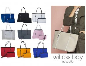 Willow bay(ウィローベイ)ネオプレントートバッグ ポーチ付き/Neoprene Tote Bag/マザーズバッグ/ブラック/グレー/ホワイト<img class='new_mark_img2' src='https://img.shop-pro.jp/img/new/icons29.gif' style='border:none;display:inline;margin:0px;padding:0px;width:auto;' />