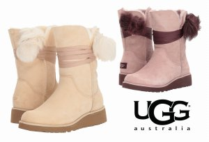 UGG(アグ)Brita ブリタ ポンポン付きムートンブーツ/レディース/リボン付きシープスキンブーツ<img class='new_mark_img2' src='//img.shop-pro.jp/img/new/icons16.gif' style='border:none;display:inline;margin:0px;padding:0px;width:auto;' />