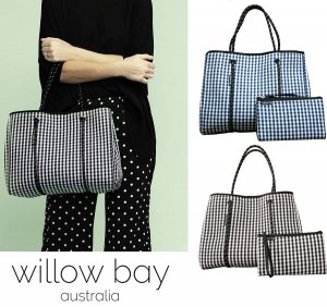 Willow bay(ウィローベイ)ギンガムチェック ネオプレントートバッグ ポーチ付き/ネイビー/ブラック/Gingham Neoprene Tote Bag/マザーズバッグ<img class='new_mark_img2' src='//img.shop-pro.jp/img/new/icons16.gif' style='border:none;display:inline;margin:0px;padding:0px;width:auto;' />