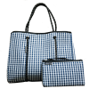 Willow bay(ウィローベイ)ギンガムチェック ネオプレントートバッグ ポーチ付き/ネイビー/ブラック/Gingham Navy Black Neoprene Tote Bag/マザーズバッグ<img class='new_mark_img2' src='//img.shop-pro.jp/img/new/icons16.gif' style='border:none;display:inline;margin:0px;padding:0px;width:auto;' />