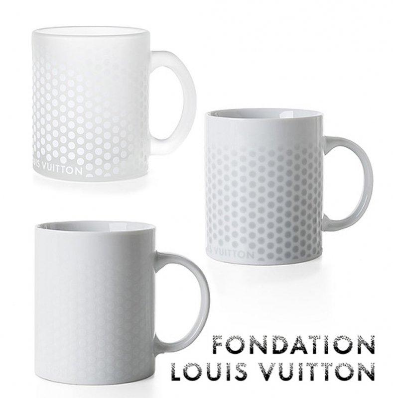 パリ限定!LOUIS VUITTON/ルイヴィトン美術館/マグカップ/陶器&ガラス/ドット柄/FONDATION LOUIS VUITTON/porcelain m…