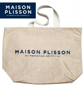 ラ・メゾン・プリソン(La Maison Plisson)リネンビッグトートバッグ/ロゴ刺繍/ナチュラルブラウン/エコバッグ/ビーチバッグ