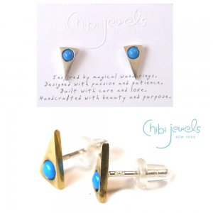 Chibi Jewels(チビジュエルズ)ターコイズ トライアングルピアス/三角ピアス/Turquoise Triangle Stud Earrings/E186<img class='new_mark_img2' src='//img.shop-pro.jp/img/new/icons5.gif' style='border:none;display:inline;margin:0px;padding:0px;width:auto;' />