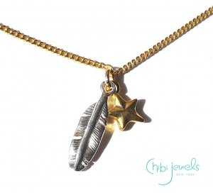 Chibi Jewels(チビジュエルズ)羽と星とムーンストーンのネックレス/Twice Charmed Necklace GOLD/N293CM<img class='new_mark_img2' src='//img.shop-pro.jp/img/new/icons5.gif' style='border:none;display:inline;margin:0px;padding:0px;width:auto;' />