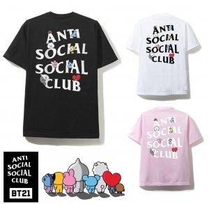 クリアランス/アンチソーシャルソーシャルクラブ(ANTI SOCIAL SOCIAL CLUB)×BT21 コラボTシャツ ブラック ピンク ホワイト 防弾少年団 BTS ASSC