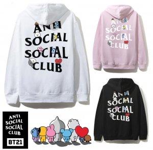 クリアランス/アンチソーシャルソーシャルクラブ(ANTI SOCIAL SOCIAL CLUB)×BT21 コラボスウェットパーカー ブラック ピンク ホワイト 防弾少年団 BTS ASSC