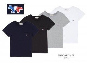 【2019年新作】メゾンキツネ(MAISON KITSUNE)レディース Tシャツ TRICOLOR FOX PATCH トリコロール   フォックス刺繍/ホワイト、ネイビー、ブラック、グレー<img class='new_mark_img2' src='https://img.shop-pro.jp/img/new/icons16.gif' style='border:none;display:inline;margin:0px;padding:0px;width:auto;' />