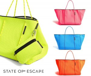 State of Escape(ステイトオブエスケープ)ビタミンカラー/ESCAPE BAG/トートバッグ ポーチ付き/ネオプレンバッグ/マザーズバッグ/ネオンオレンジ、ネオンイエロー、ブルー<img class='new_mark_img2' src='https://img.shop-pro.jp/img/new/icons5.gif' style='border:none;display:inline;margin:0px;padding:0px;width:auto;' />