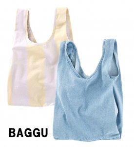 BAGGU(バグゥ)コットンエコバッグ/キャンバスショッパーバッグ/Medium Baggu/デニム、ストライプ/バグー<img class='new_mark_img2' src='https://img.shop-pro.jp/img/new/icons16.gif' style='border:none;display:inline;margin:0px;padding:0px;width:auto;' />