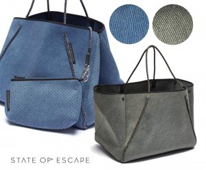State of Escape(ステイトオブエスケープ)デニムネオプレンバッグ ポーチ付き/トートバッグ/マザーズバッグ/Guise tote bag