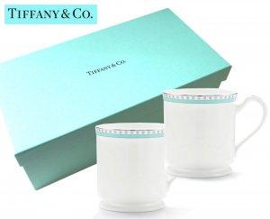 TIFFANY & CO(ティファニー)ティファニー マグカップ2点セット/食器/プラチナ ブルー バンド/紙袋付き