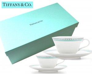TIFFANY & CO(ティファニー)ティファニー カップ&ソーサー2セット/食器/ティーカップセット/プラチナ ブルー バンド/紙袋付き