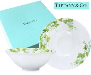 TIFFANY & CO(ティファニー)フラワー柄ボウル2点セット/食器 皿/紙袋付き