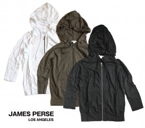 JAMES PERSE(ジェームス パース)レディースジップパーカー/七分袖フーディー<img class='new_mark_img2' src='https://img.shop-pro.jp/img/new/icons5.gif' style='border:none;display:inline;margin:0px;padding:0px;width:auto;' />