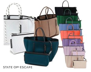 State of Escape(ステイトオブエスケープ)ショルダー&トートバッグ/プチエスケープトートバッグ/PETITE ESCAPE tote bag/ミニサイズネオプレンバッグ/ホワイト、ピンク<img class='new_mark_img2' src='https://img.shop-pro.jp/img/new/icons5.gif' style='border:none;display:inline;margin:0px;padding:0px;width:auto;' />