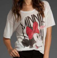 マイティーファイン(Mighty Fine)ミニーマウス ボーイフレンドTシャツ(ホワイト)