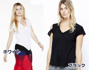 LnA(エルエヌエー)肩開きTシャツ/半袖トップス/Ruby Tee(ブラック&ホワイト)<img class='new_mark_img2' src='https://img.shop-pro.jp/img/new/icons16.gif' style='border:none;display:inline;margin:0px;padding:0px;width:auto;' />