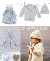 ベアフットドリームス(Barefoot Dreams)ベビーカーディガン&ハット2点セット/ブルー