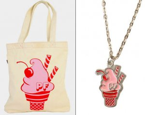 Paul Frank(ポールフランク)ソフトクリーム柄トートバッグ&ペンダントセット<img class='new_mark_img2' src='https://img.shop-pro.jp/img/new/icons16.gif' style='border:none;display:inline;margin:0px;padding:0px;width:auto;' />