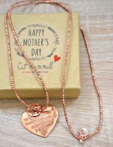 キャットハミル(Cat Hammill)母の日限定ハートローズゴールド メッセージ刻印ペンダントネックレス/Mother's Day Long Fine Rose heart Necklace<img class='new_mark_img2' src='https://img.shop-pro.jp/img/new/icons16.gif' style='border:none;display:inline;margin:0px;padding:0px;width:auto;' />