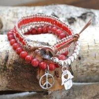 キャットハミル(Cat Hammill)ハムサ&ピース3連ブレスレット&レザーミサンガセット/レッド/Adjustable Bracelet S…