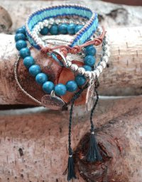 キャットハミル(Cat Hammill)ラッキーチャーム4連ブレスレット&レザーミサンガセット/ブルー/Adjustable Bracelet S…