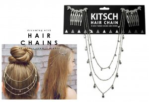 Kitsch(キッチュ)ラインストーンリーフヘアチェーン/ヘアアクセサリー/Leaf Hair Chain/シルバー<img class='new_mark_img2' src='//img.shop-pro.jp/img/new/icons16.gif' style='border:none;display:inline;margin:0px;padding:0px;width:auto;' />