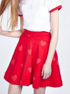 クリアランス/レイジーオーフ(Lazy Oaf)スカートハート柄/スウェットスカート/Heart Waffle Skirt