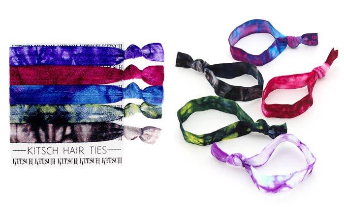 タイムセール/Kitsch(キッチュ)Tie Dye タイダイヘアアクセサリー5本セット/ヘアゴム/ブレスレット/Hair Ti…