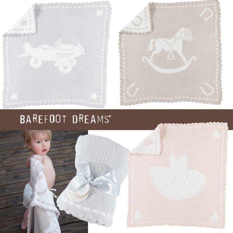 ベアフットドリームス(Barefoot Dreams)レシービング ベビーブランケット/ひざ掛け毛布/おくるみ(ピンク、ストーン、ブル…