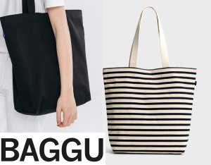 BAGGU(バグゥ)トートバッグ/キャンバスショッパーバッグ/CANVAS SHOPPER BAG/ボーダー柄・ブラック/バグー<img class='new_mark_img2' src='//img.shop-pro.jp/img/new/icons16.gif' style='border:none;display:inline;margin:0px;padding:0px;width:auto;' />