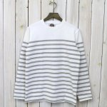 BARBARIAN『CREW NECK LONG SLEEVE-BASQUE STRIPES』(WHITE×ASH)