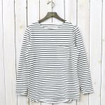 CURLY『BRIGHT BORDER LS TEE』(WHITE/OLIVE)