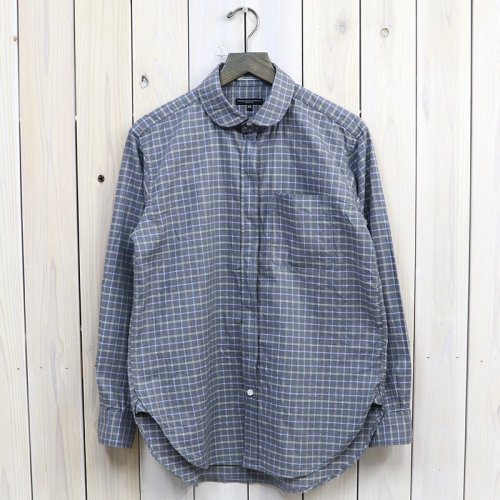『Rounded Collar Shirt Combo-Plaid Flannel』(Grey/White/Blue)