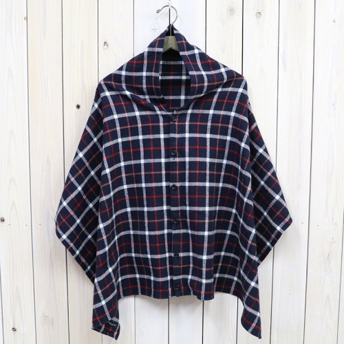 『Button Shawl-Plaid Flannel』(Navy/White)