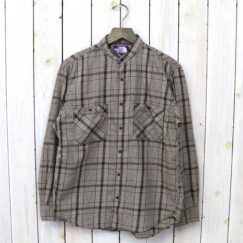 『Band Collar Twill Shirt』(Brown)