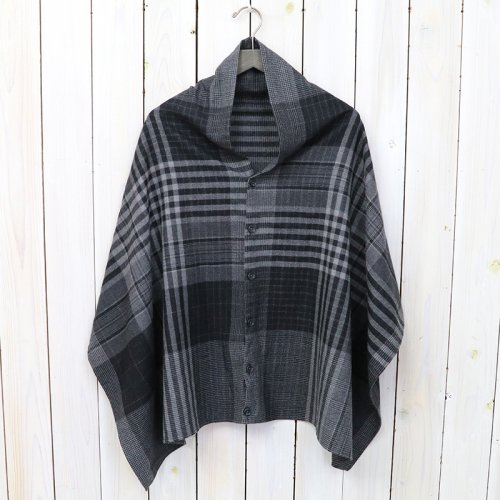 『Button Shawl-Worsted Wool Plaid』(Grey/Black)