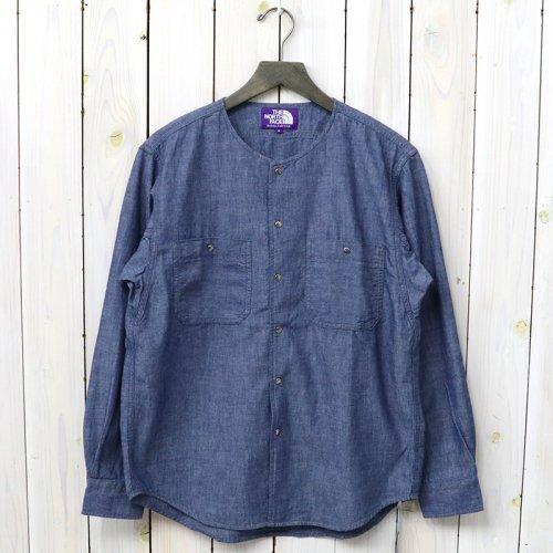 『Cotton Chambray Crew Neck Shirt』(Indigo)